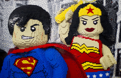 Wonder Woman and Superman out of legos