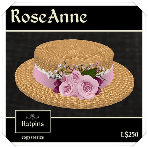 Hatpins - RoseAnne Boater - Pink