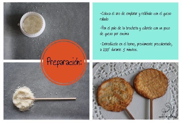 Preparación piruletas parmesano