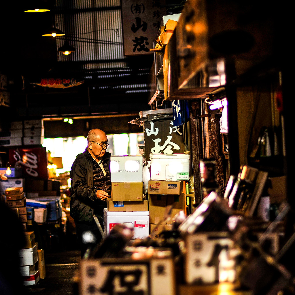 Tsukiji man in morning light