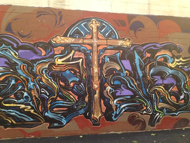 Cross graffiti mural, Market Street