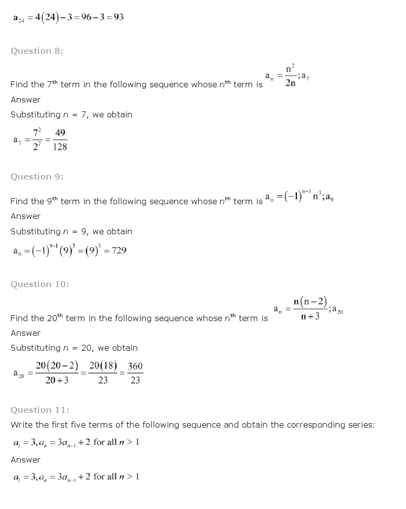 hight resolution of NCERT Solutions for Class 11th Maths Chapter 9 Sequences and Series - CBSE  Rankers