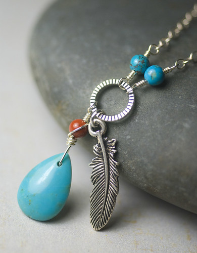 """""""Azure Wind"""" - Turquoise, Sterling Silver, Red Jasper, Southwestern, Necklace - Robin's Egg Blue 'AA' Turquoise Briolette, Red River Jasper by Moss & Mist Jewelry"""