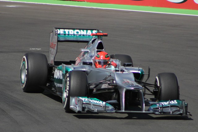 Michael Schumacher in his Mercedes F1 car at the 2012 European Grand Prix at Valencia