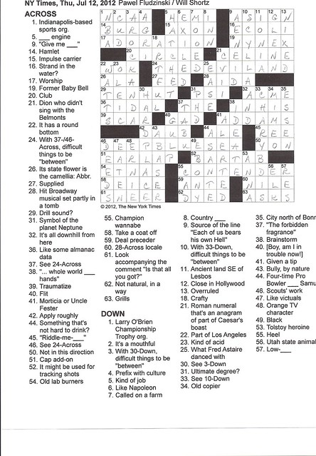 NY Times Puzzle - Thursday, July 12, 2012