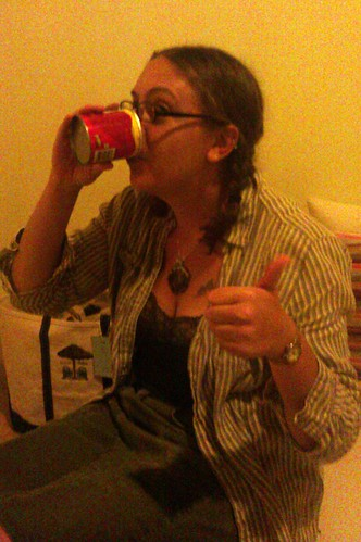 Drinking out of a Pringles container