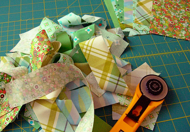 Cutting into my Bloomerie challenge fabrics