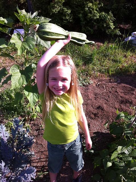 Sadie with zucchini