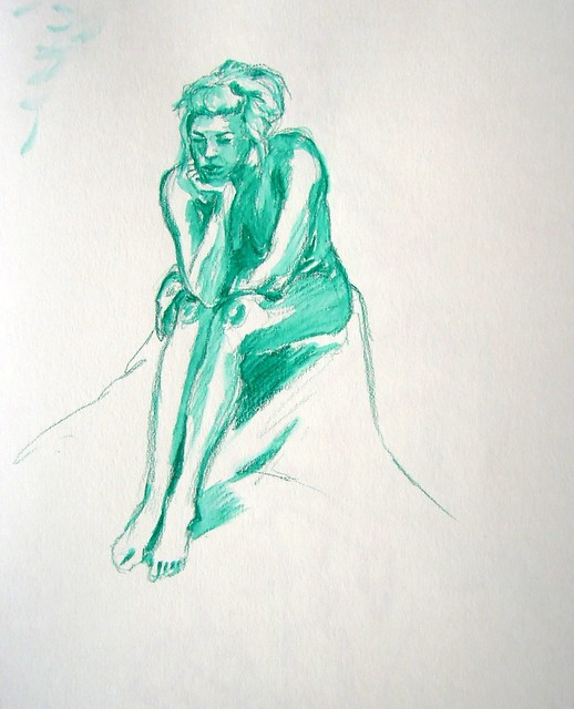 Seated model sketched in turquoise pencil