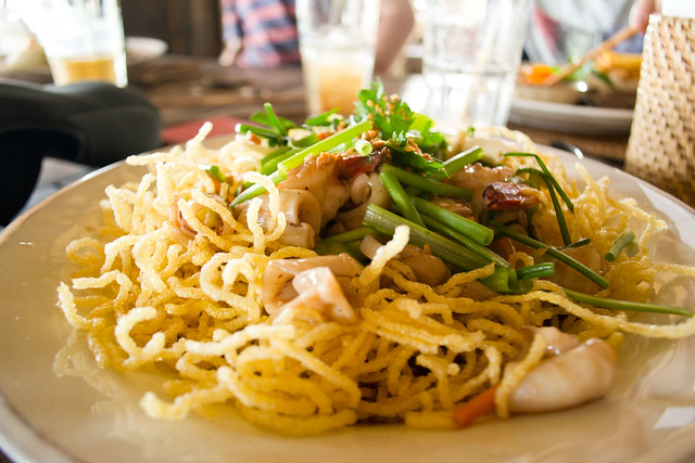 Crispy Birds Nest Egg Noodles with Seafood
