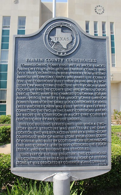 Fannin County Courthouses Bonham Texas Historical Marker