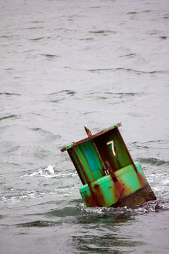 green buoy, gray ocean: cape cod, mass.