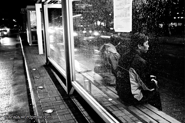 Bus stop rainy day