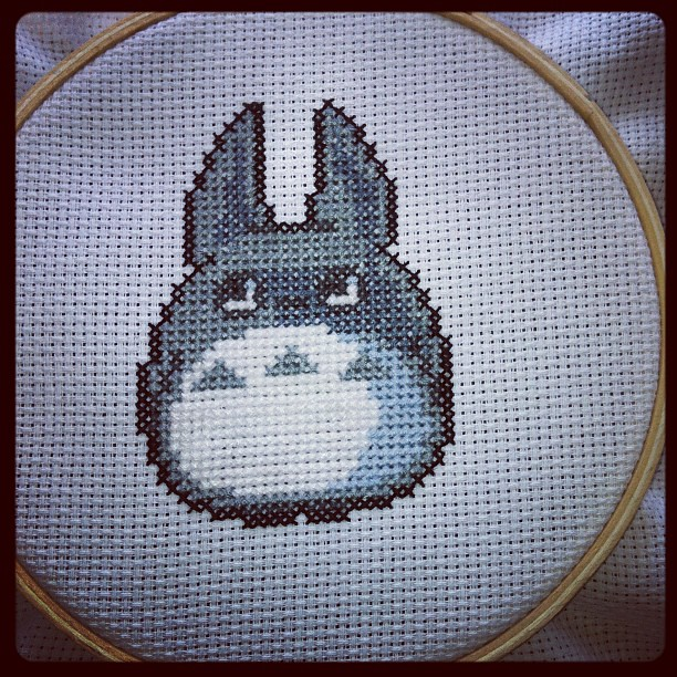 Just finished Medium Totoro cross stitch for babies room