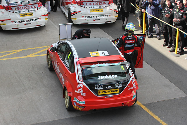 Mat Jackson parks and gets out of his car after finishing third at the BTCC in Donington Park in April 2012