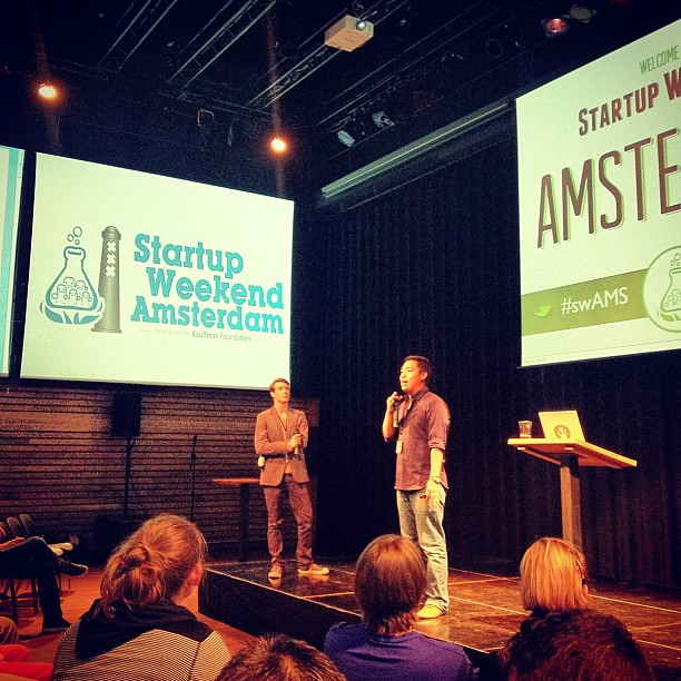 James Digby kicking off Startup Weekend Amsterdam #swams