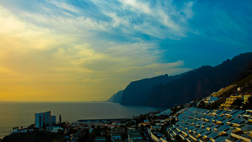 Sunset over Los Gigantes village and cliffs