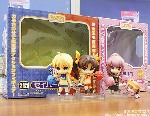 Cheerful version of Nendoroid Saber and Tohsaka Rin, along with Nendoroid Megurine Luka