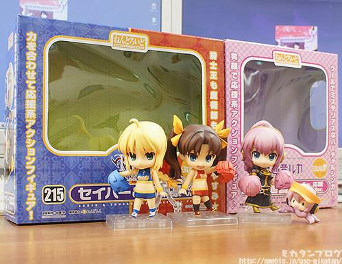 Cheerful version of Nendoroid Saber and Tohsaka Rin, along with Nendoroid Megurine Luka