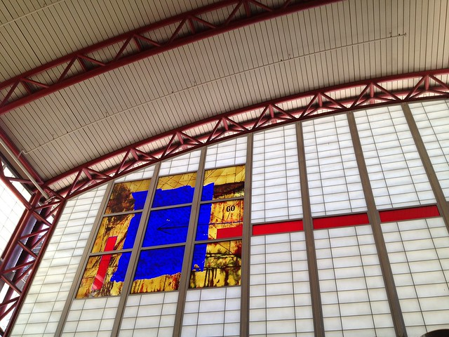 Stained glass window, San Bruno Bart Station