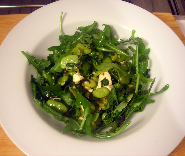 Fava bean, arugula and pea salad, with cow's milk ricotta cheese, lemon zest and mint