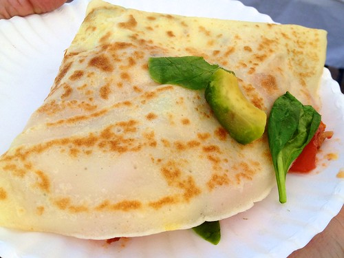 Sunrise Crepe - tomato, spinach, avocado, etgg, cheese