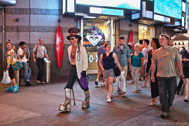 man in costume in times square