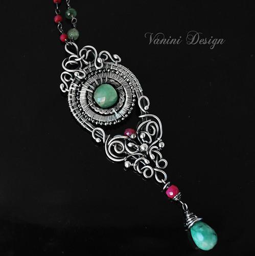 Esmeralda-Fine/Sterling Silver,Emerald and Ruby pendant Necklace