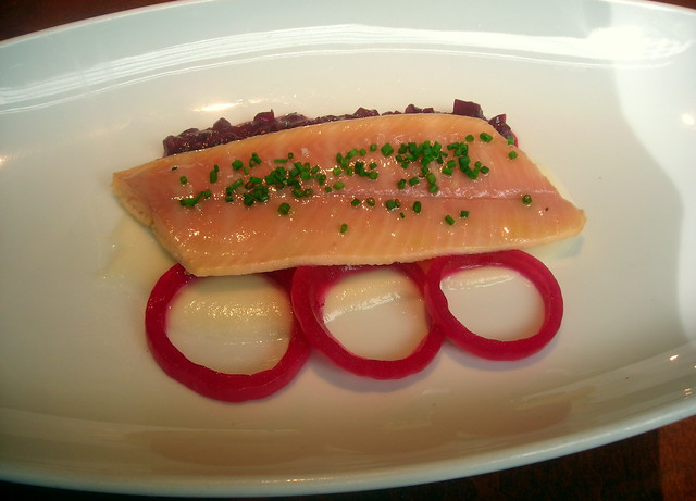 Smoked trout, red cabbage, pickled cippolini onion