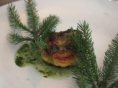 Detail: Cauliflower and pine. Cream and horseradish