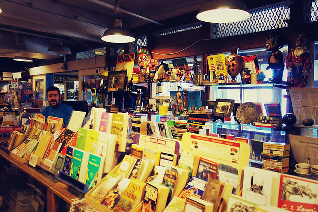 Buying books at the Lion Heart Book Store, tucked away in the bowels of Pike Place Market