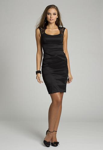 Short Satin Black Short Dress with Lace Detail