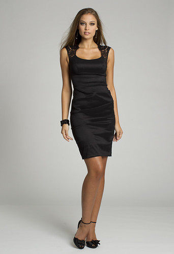 Short Satin Black Short Dress with Lace Detail
