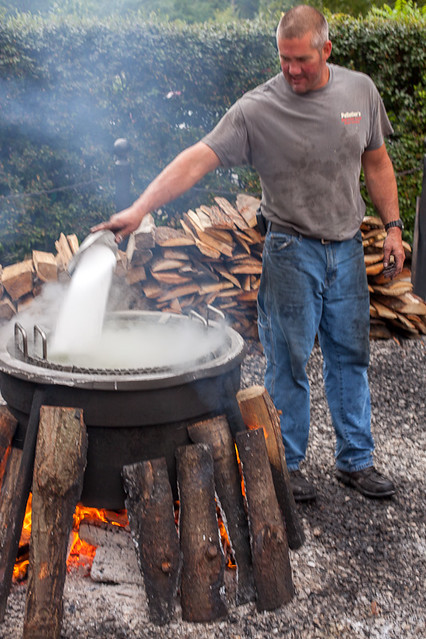 Traditional Fish Boil - Adding a Little Salt
