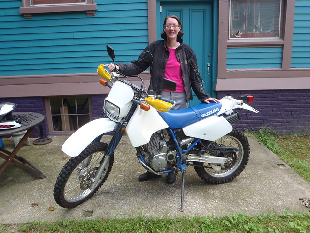 Happy girl with her new 1995 DR350SE ... why the Honda girl keeps getting Suzukis is a mystery