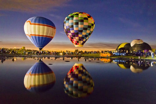 Sequim Balloon Festival, Two Balloons, Full Reflection by i8seattle