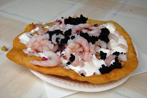 Langos with Sour Cream, Onion, Shrimps and Caviar