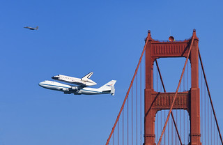 Endeavor over Golden Gate Bridge