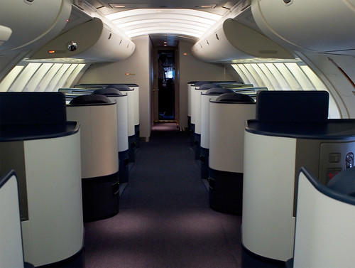New Delta 747 Business Elite Upper Deck Cabin View