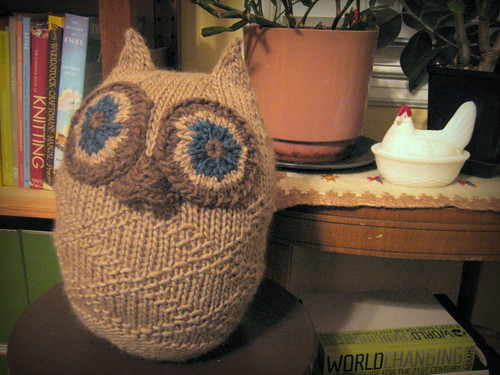 20120913. Christmas knitting continues! Big puffy owl.
