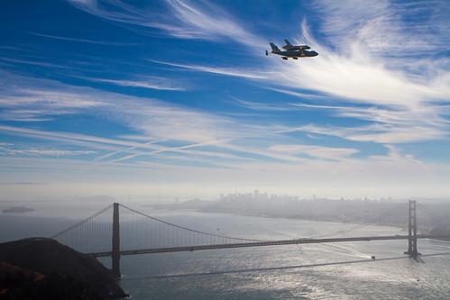 Endeavour over the Golden Gate Bridge (ACD12-0146-010)