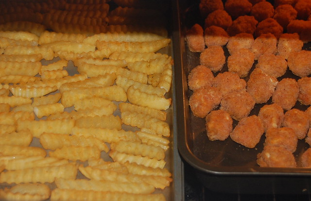 fries and chicken nuggets