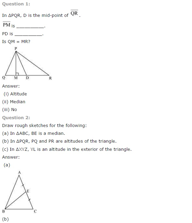 NCERT Solutions for Class 7th Maths Chapter 6 The Triangle and its Properties Exercise 6.1