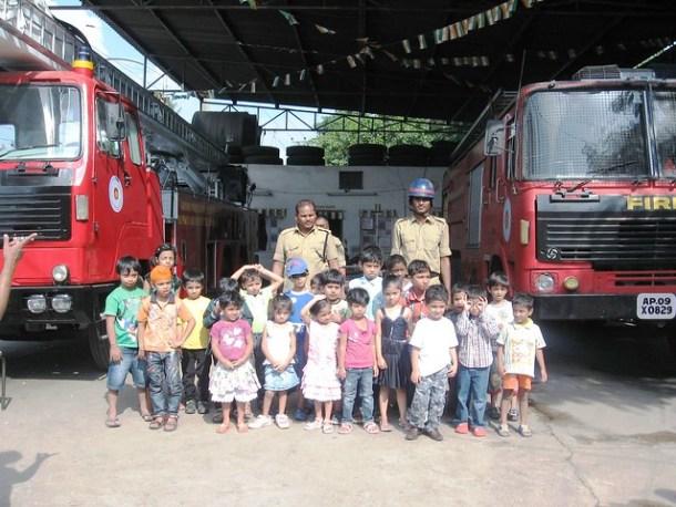 Ankur children at the Fire Brigade