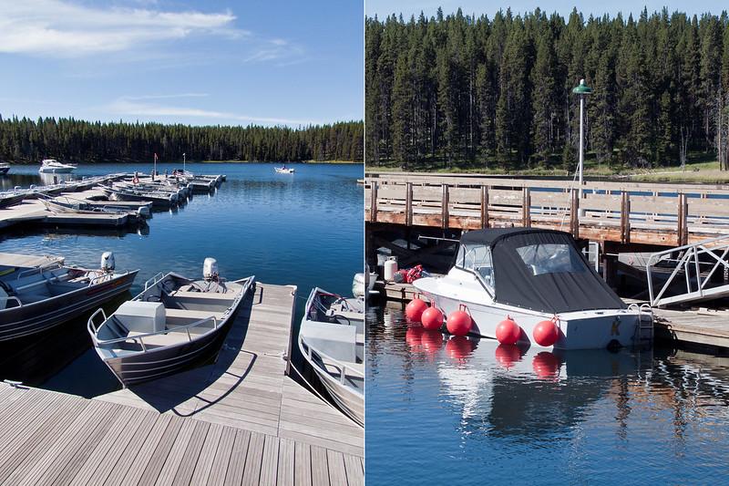 Motor boats in Bridge Bay, Yellowstone Lake