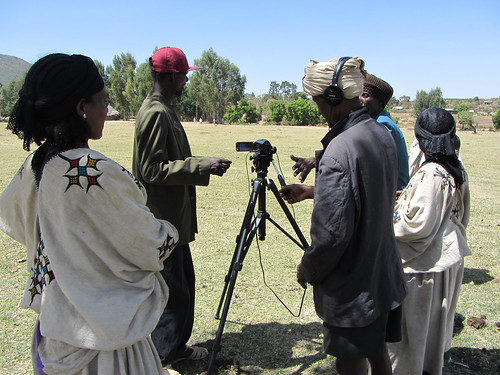 Farmers from Fogera telling their stories using participatory video