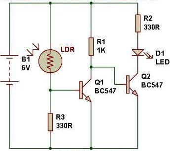 Automatic-light-using-2-transistor