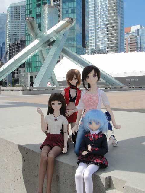 Annalise, MEIKO, Saya and Cirno at the Olympic Cauldron