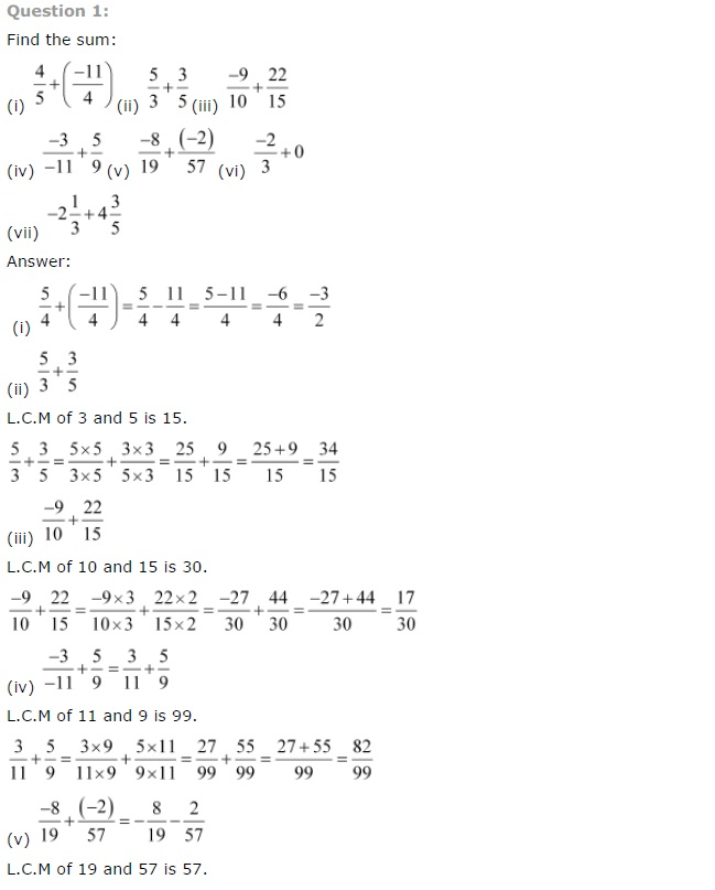 NCERT Solutions for Class 7th Maths Chapter 9 Rational Numbers Exercise 9.2
