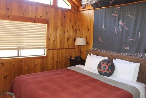 Bedroom. Big firm bed.